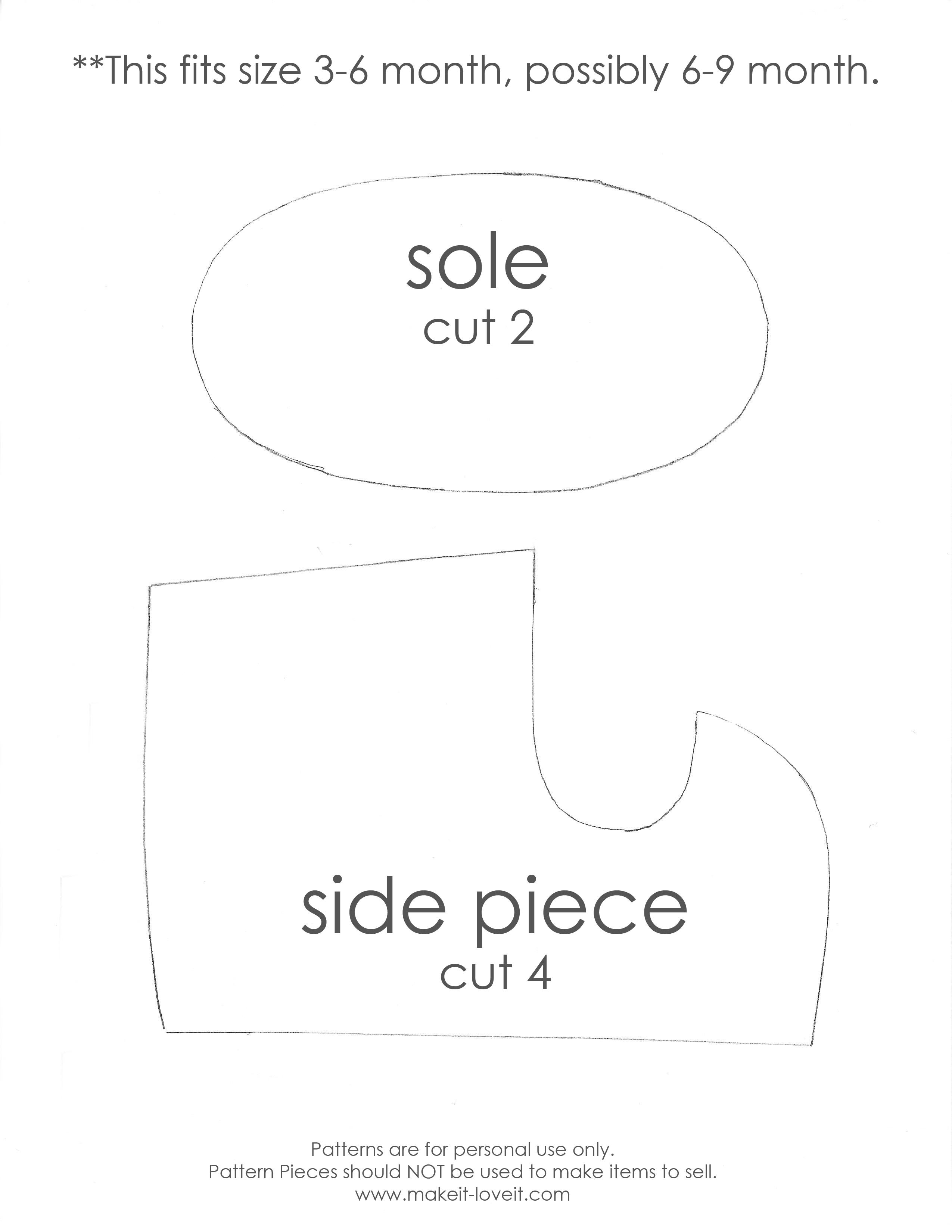 munchkin shoe pattern pieces