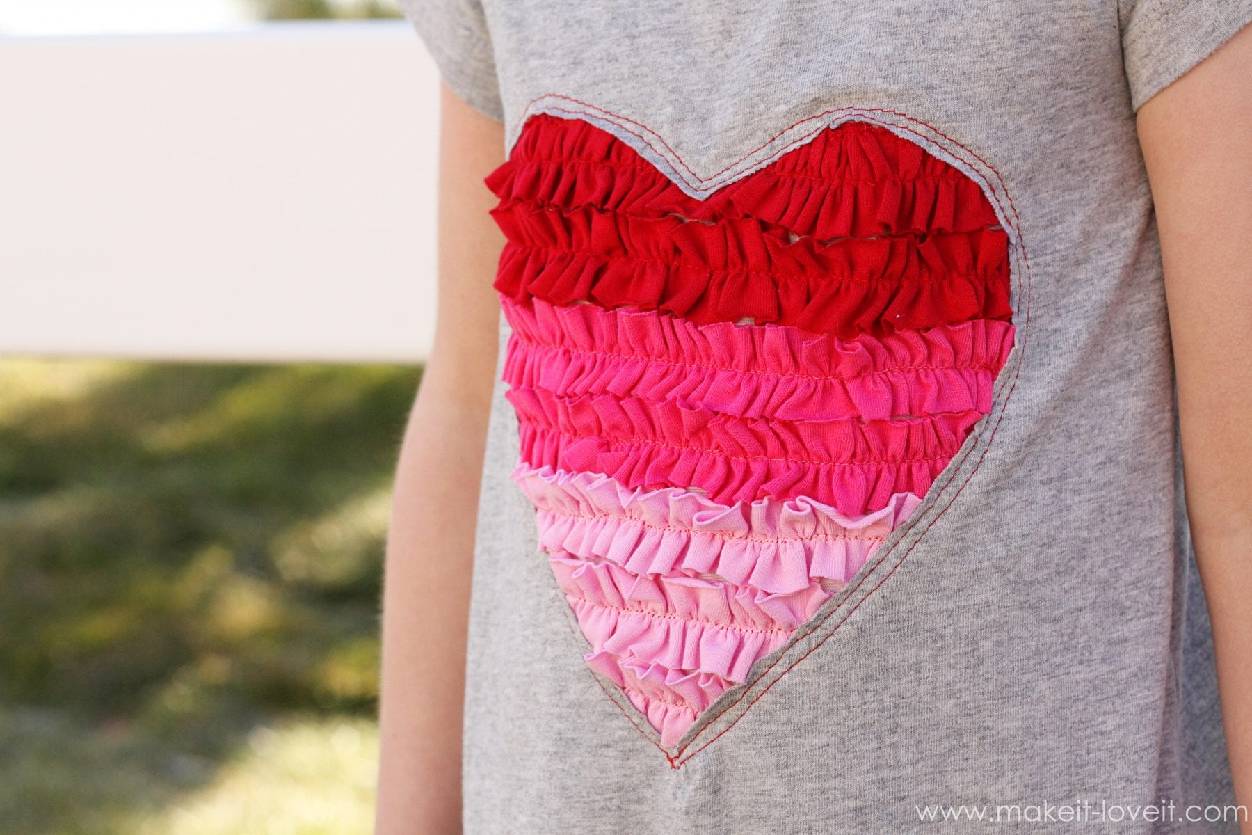 Ruffled Heart Valentine Dress Made From Recycled Tshirts