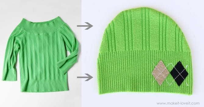 green sweater hat