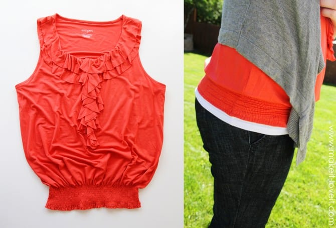 "Turn a ""too big"" shirt into a shirt with a shirred band."