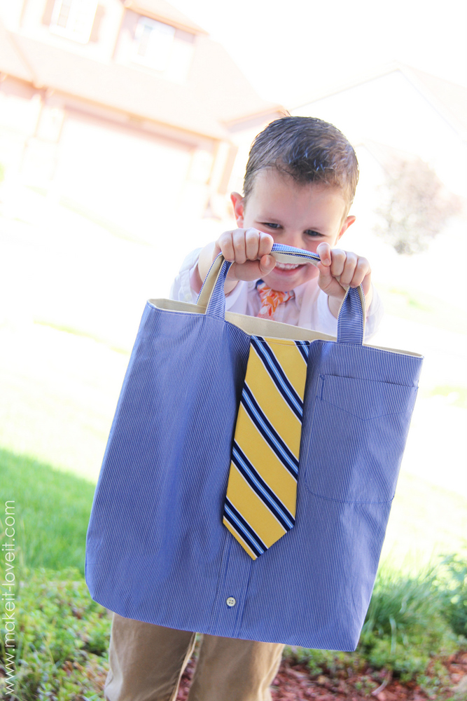 Turn a men's shirt/tie into a tote (aka: little boy church bag)