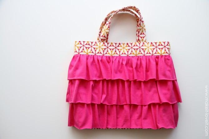 A ruffled tote (aka: elli's church bag)