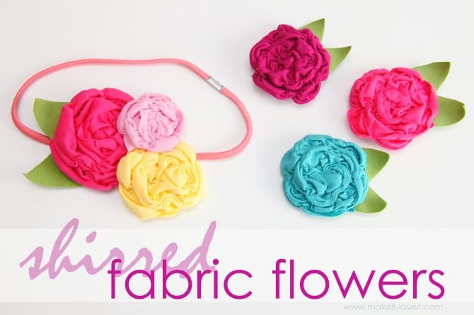 Shirred fabric flowers {made from knit fabric scraps}