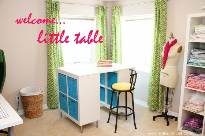 Make a counter height craft table (from 2 shelves, a table top, and 8 legs)