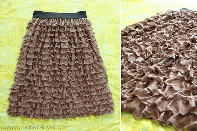 """Long a-line skirt; made with """"ruffles and ridges"""" fabric."""