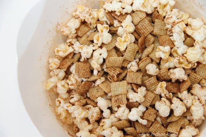 Cinnamon popcorn & chex mix.  oh yum.