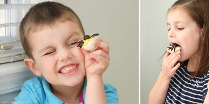 Spider eggs (aka: dressed up deviled eggs)