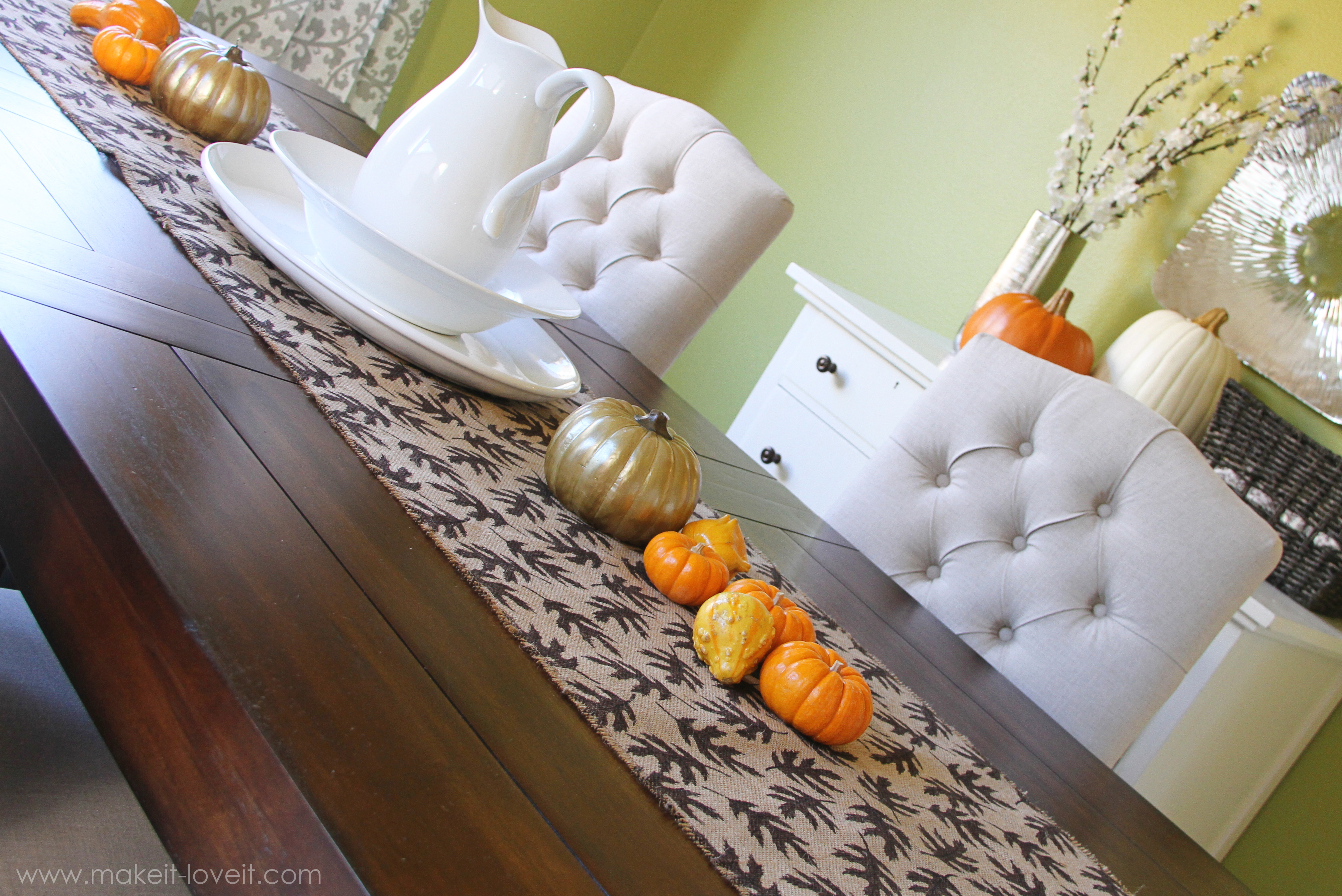 Fall Decor Burlap Table Runner With Leaf Prints Sew Or