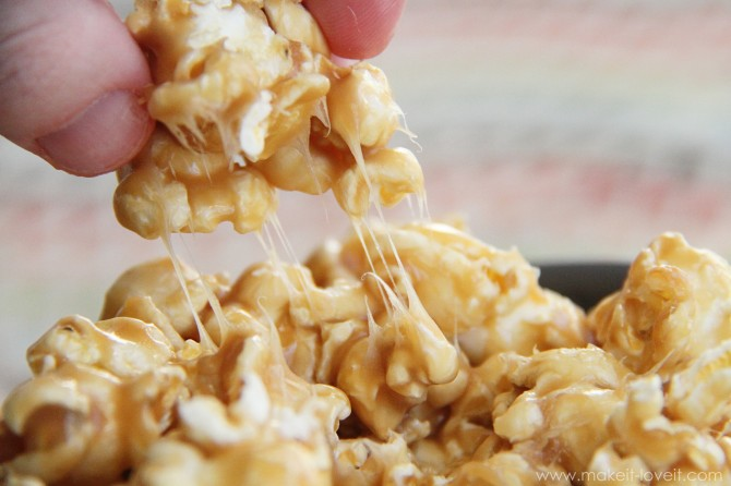 Recipe re-visited: chewy caramel popcorn (and a video peek into our sunday evening)