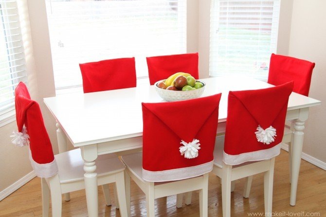 Santa hat chair covers (a serious bah-humbug repellent!!)