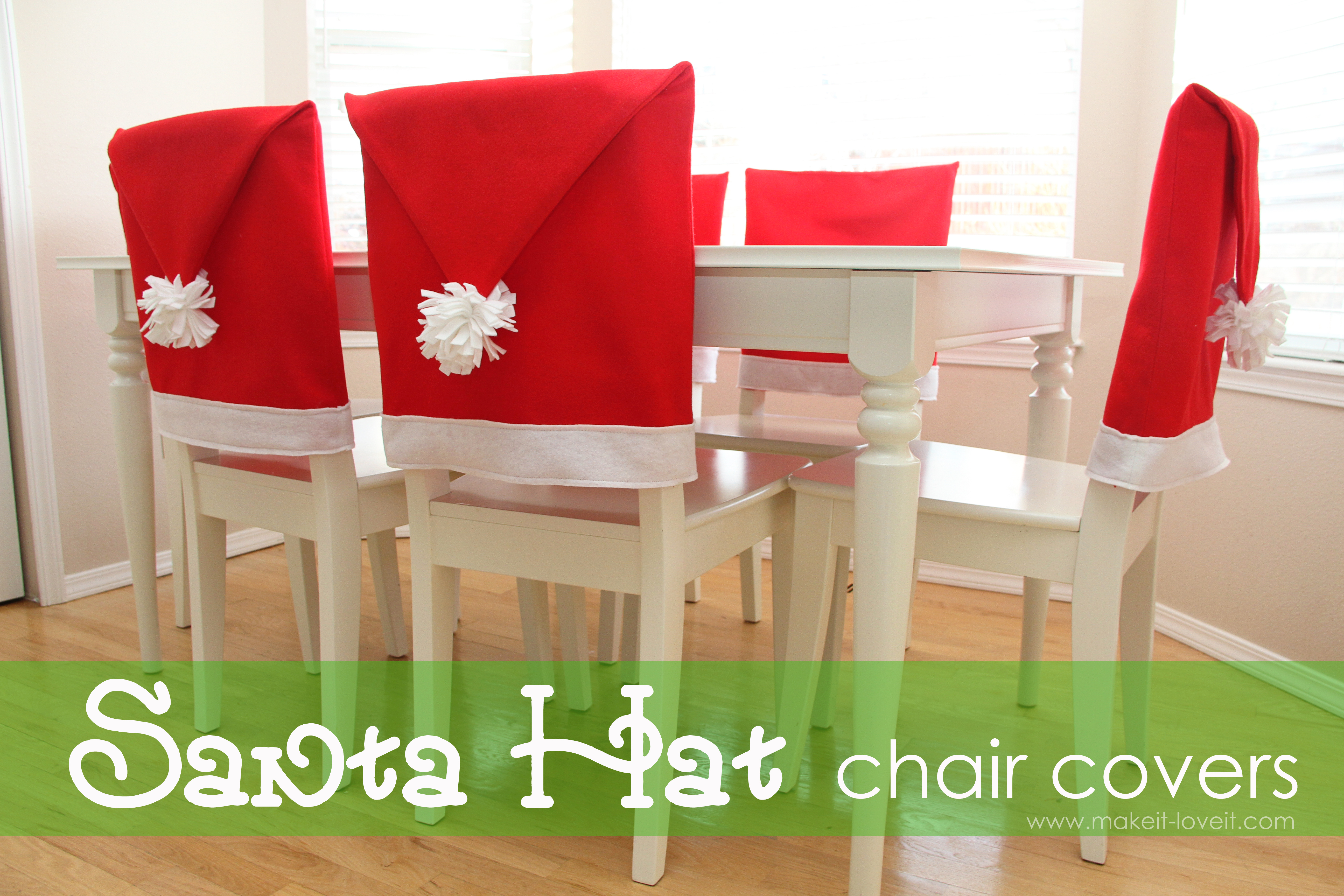 Sew Dining Room Chair Covers santa hat chair covers (a serious bah-humbug repellent!!) – make it