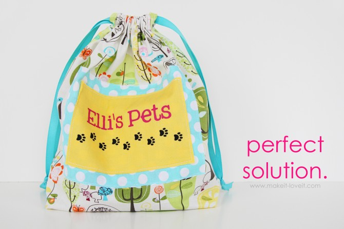 """little pieces"" toy sack…..a great place to store all those teeny pieces!"