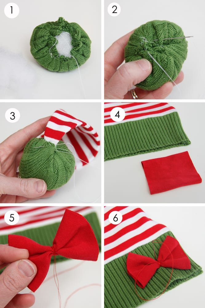 Snowman/reindeer/elf christmas hats…..made from old sweaters