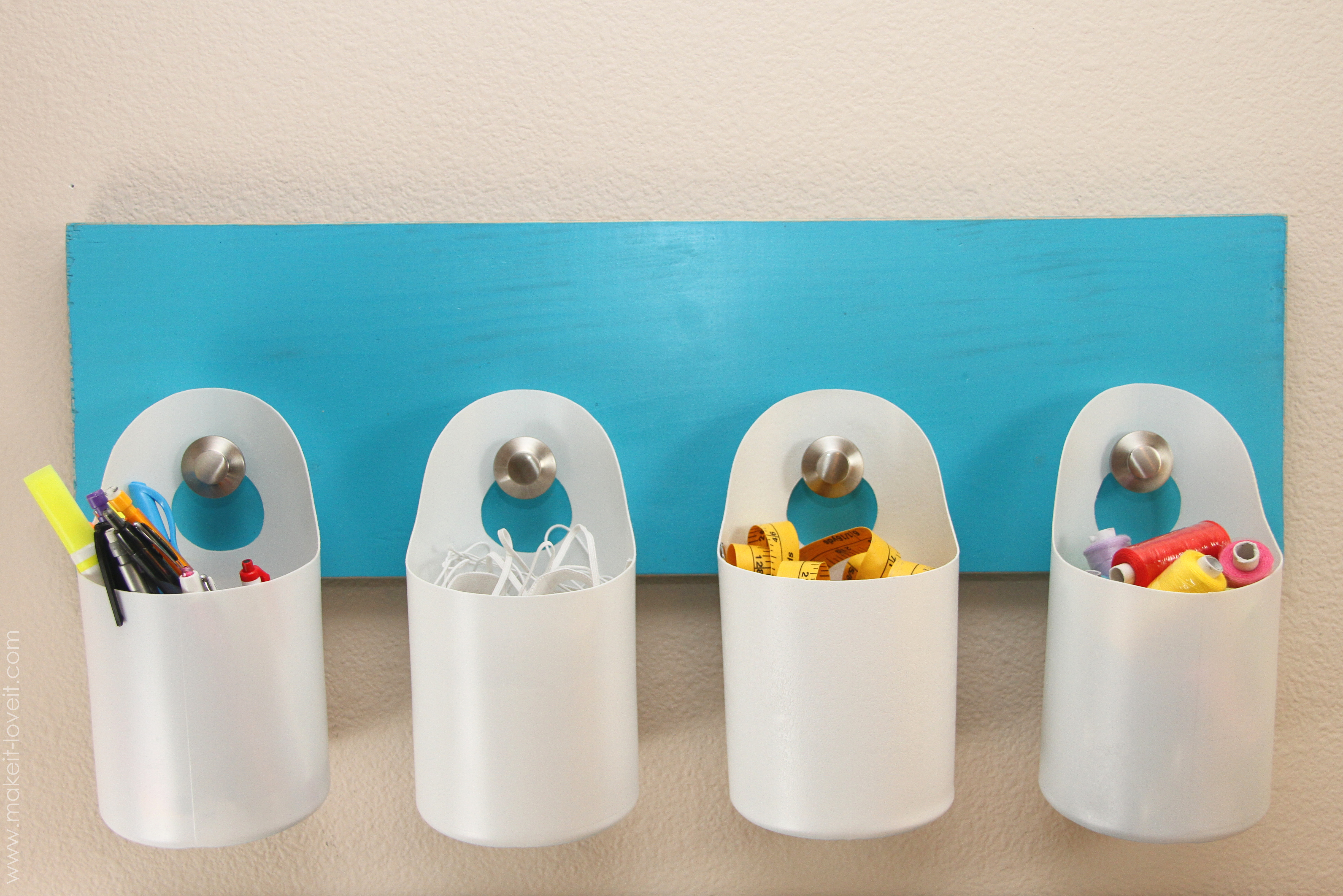 Hanging storage bins made from recycled containers for Things to make out of plastic bottles