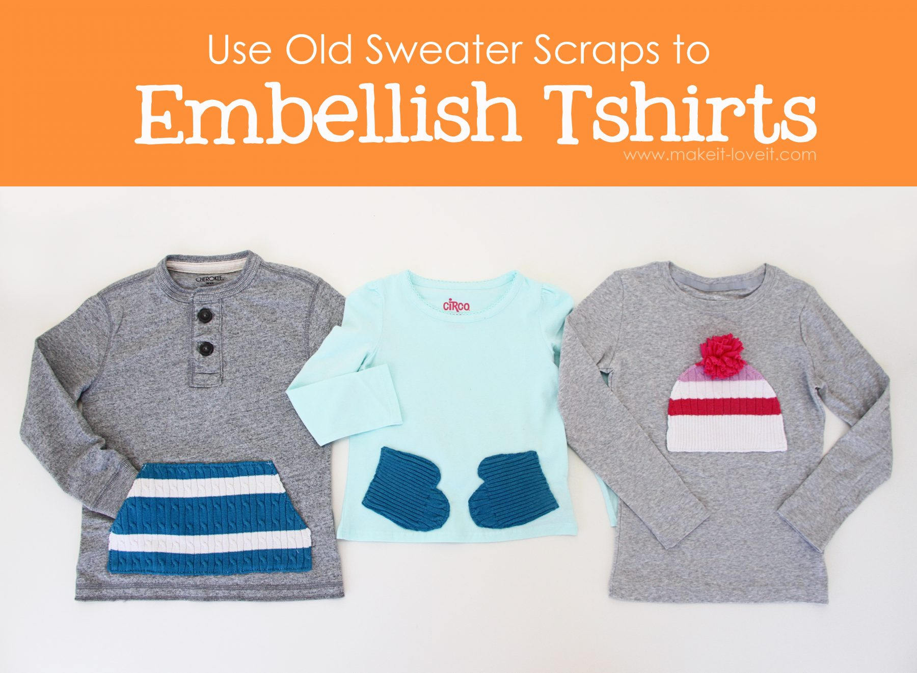 Embellish tshirts…..with old sweater scraps (or any ol' scraps, really)