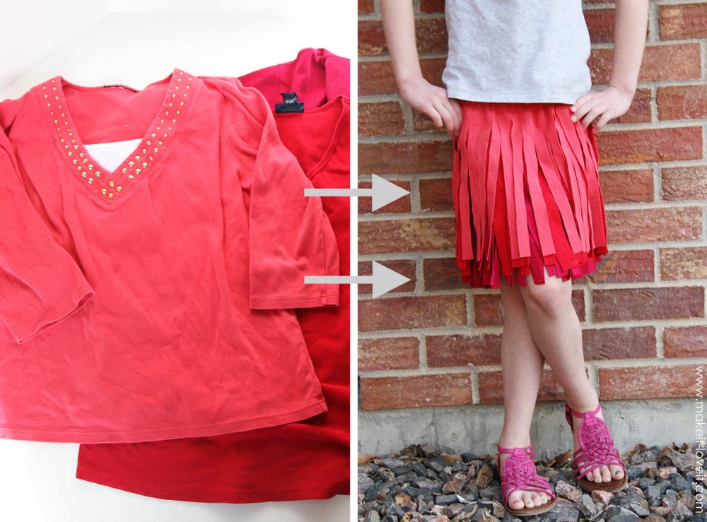shirts into fringe skirt