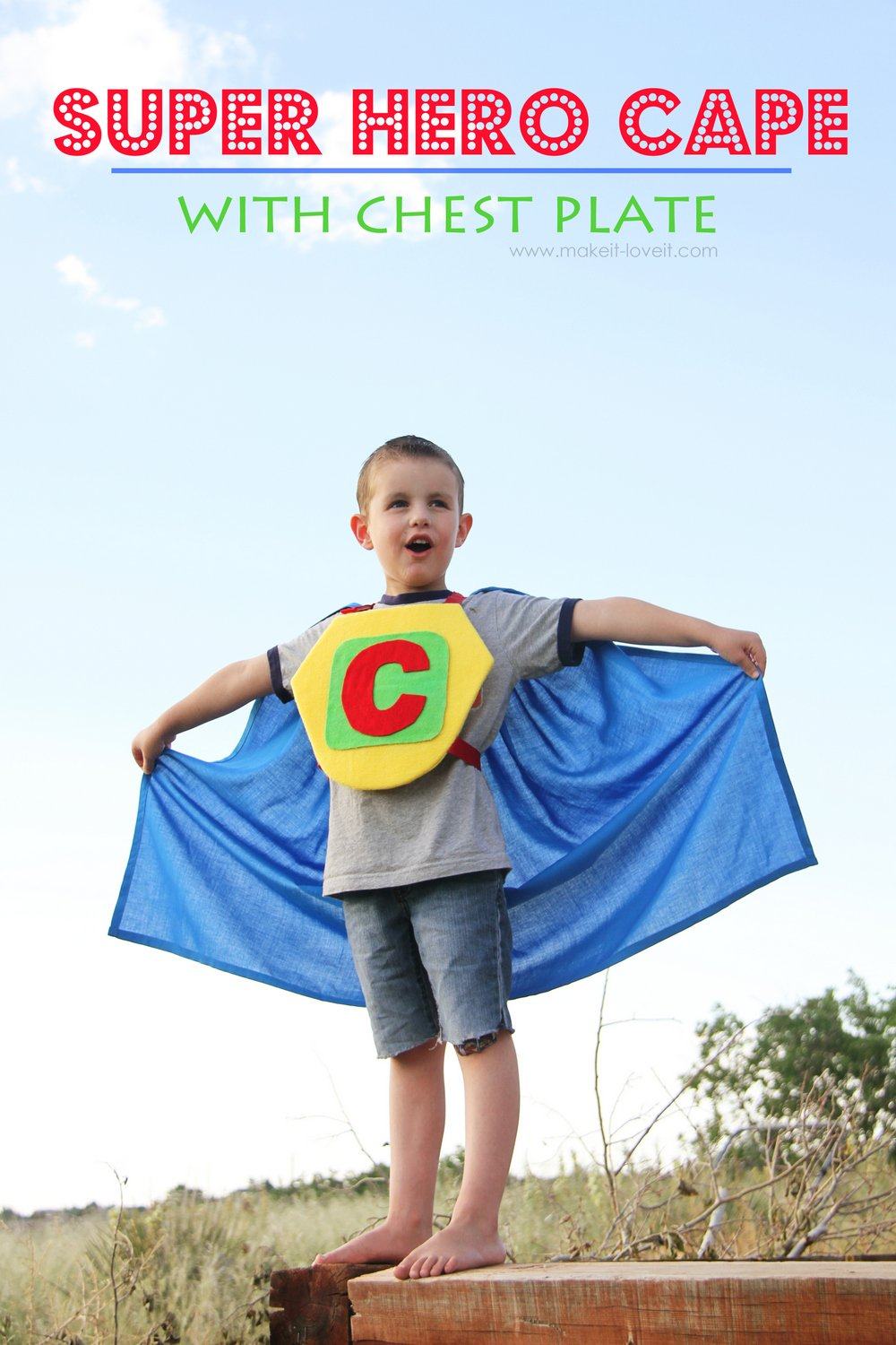 Super hero cape with chest plate (shield template included)