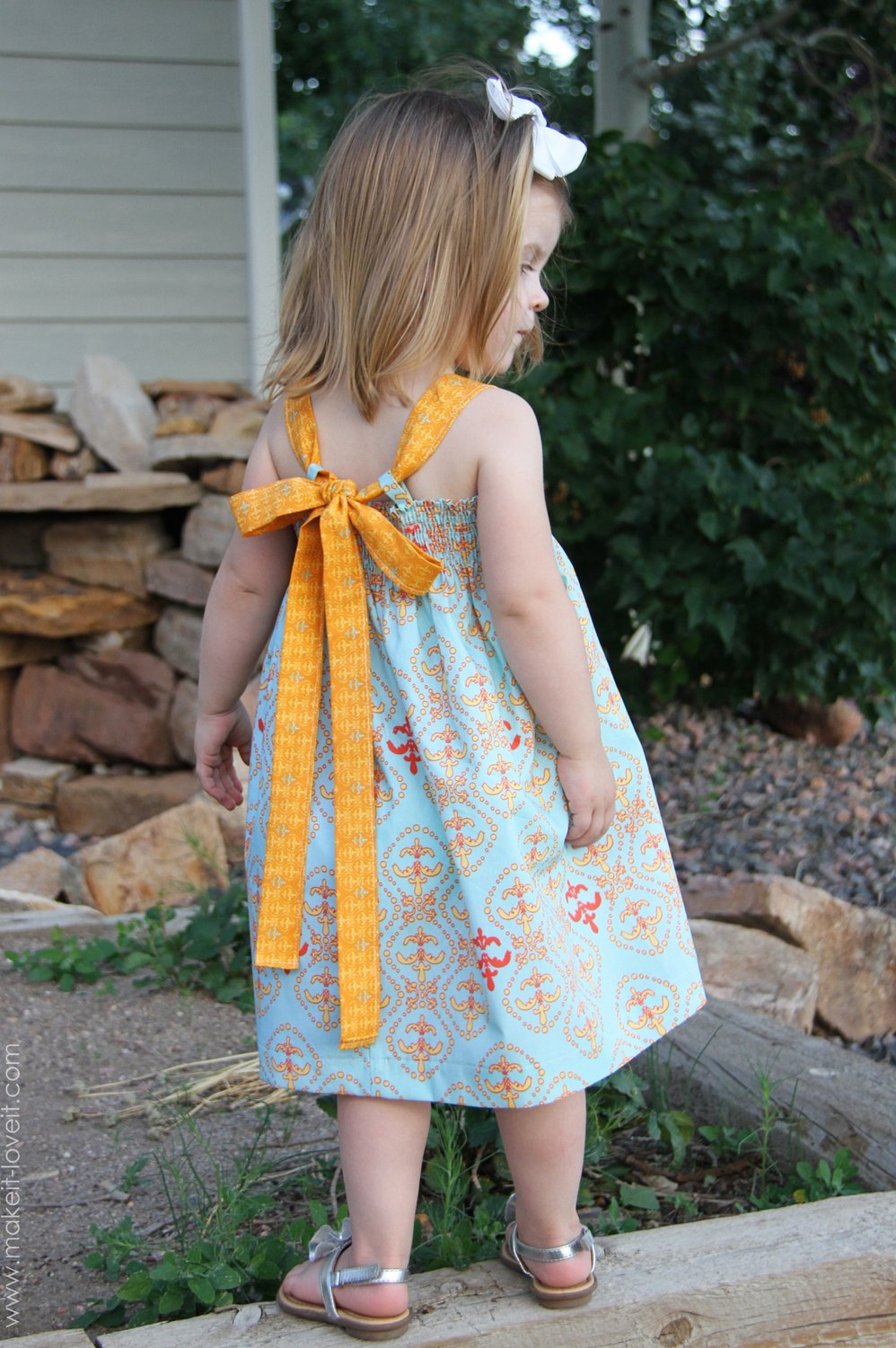 Shirred Summer Dress, with Tie-Back Bow