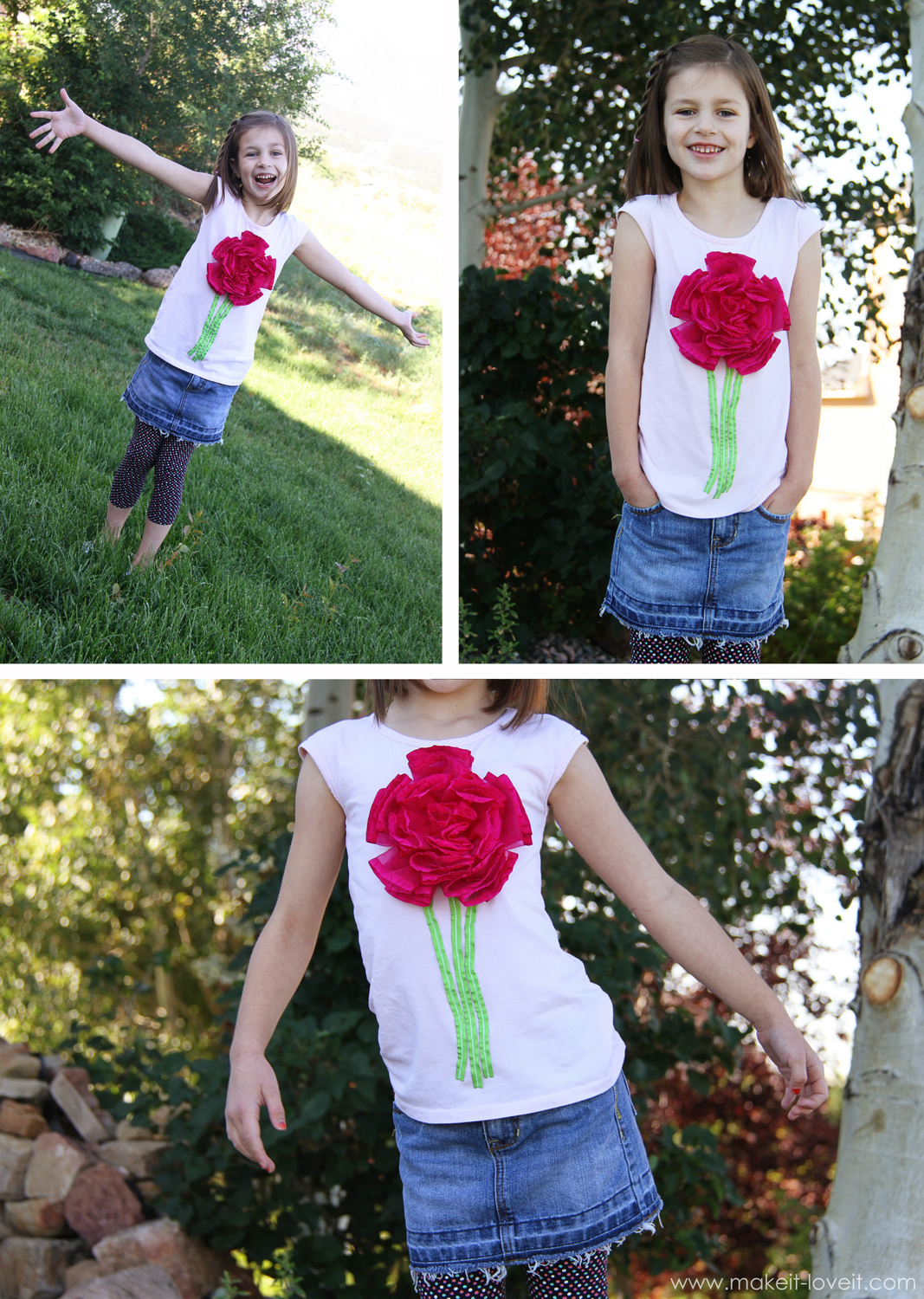 ribbon flower on tshirt