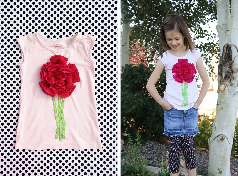 ribbon flower tshirt