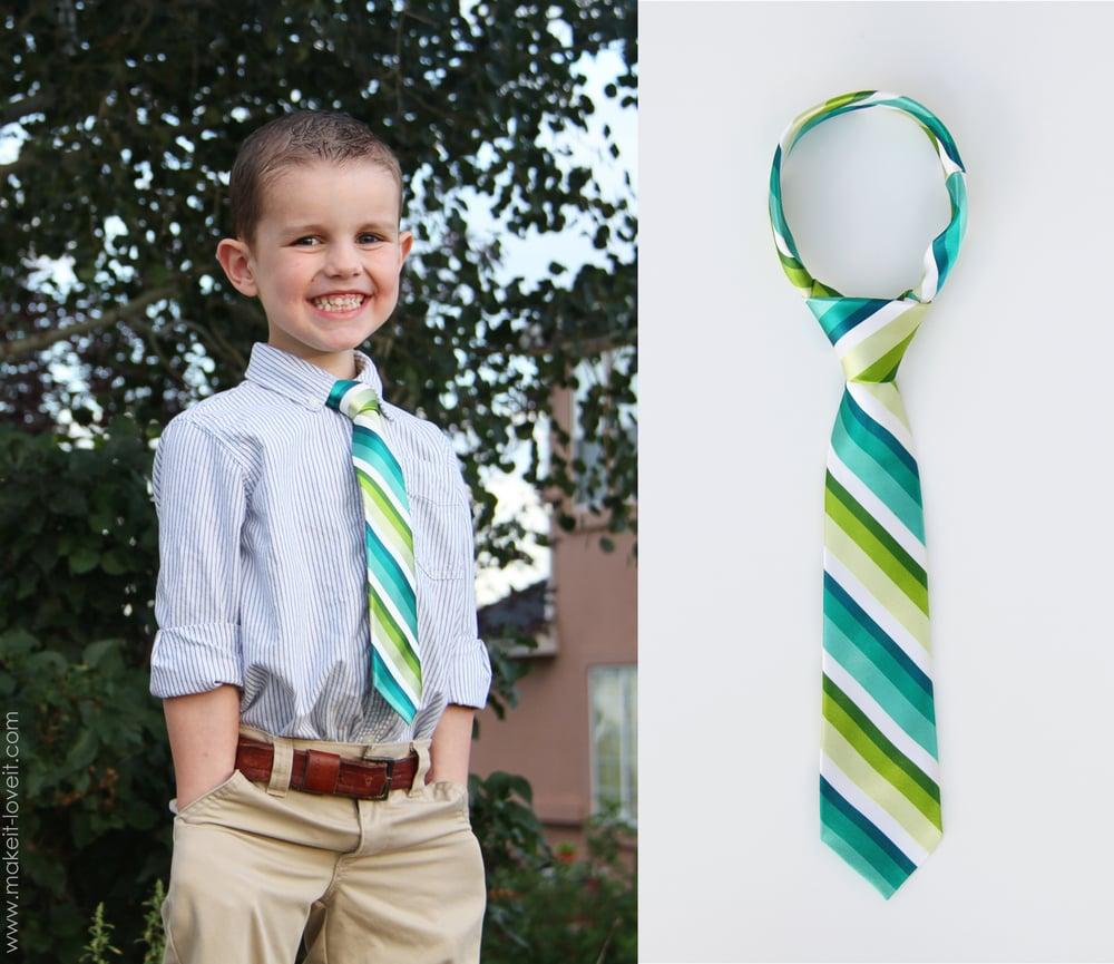Re-purposing: turn a men's tie into a boy's tie