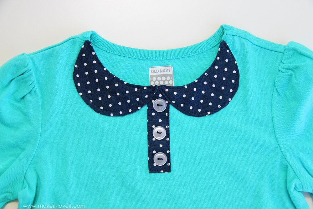 An Attached Peter Pan Collar…..with buttons – Make It and Love It