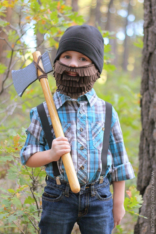 Halloween costume ideas: lumberjack with beard and axe