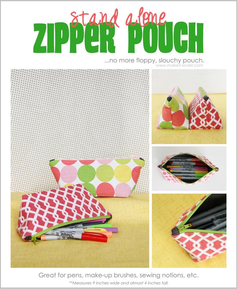 stand alone zipper pouch