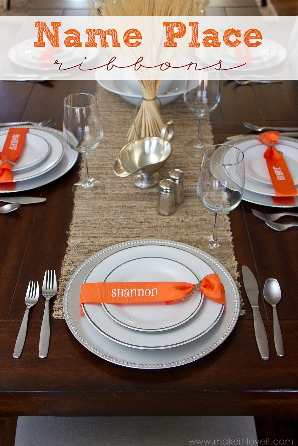 Thanksgiving (or any meal) Name Place Ribbons