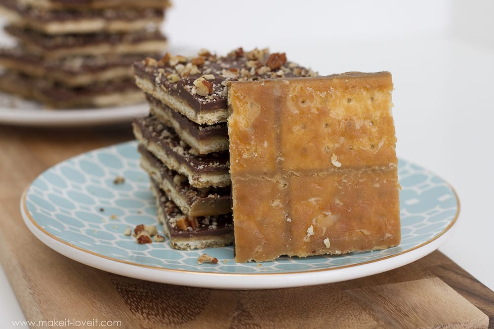 Chocolate Cracker Toffee...sweet and salty...YUM!  The FASTEST toffee you'll ever make! --- Make It and Love It