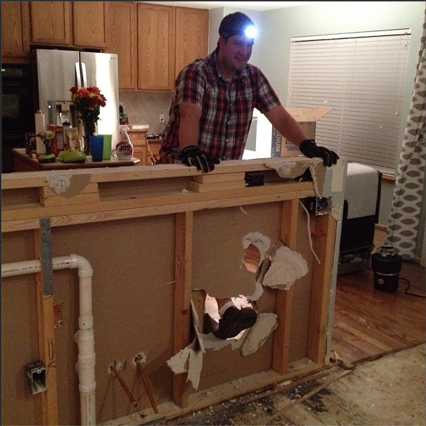 Kitchen Peninsula With Column: Home Improvement: Adding Column Supports To Counter Overhang (PLUS Finished Kitchen Photos