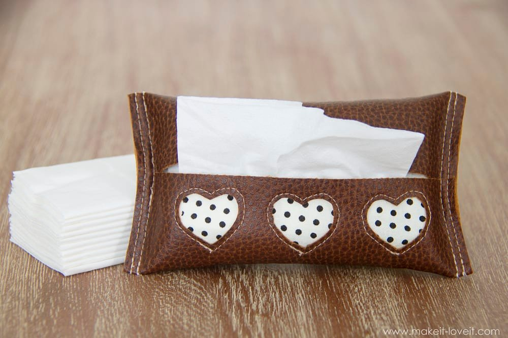 Mini Tissue Holder {{Leather/Vinyl with Cutouts}} --- Make It and Love It