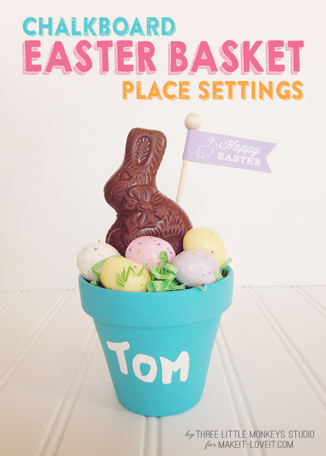 Chalkboard easter basket place settings (plus free flag printable)