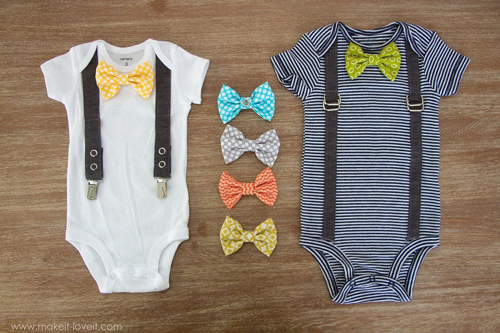 Interchangeable Bowtie Onesie With Attached Suspenders