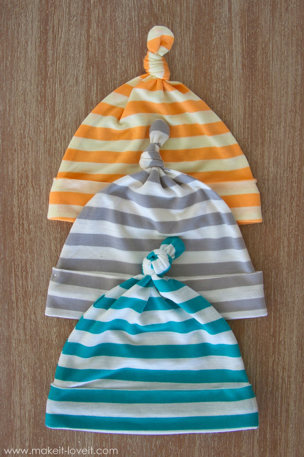 Stretchy Baby Hats with Top Knots --- Make It and Love It