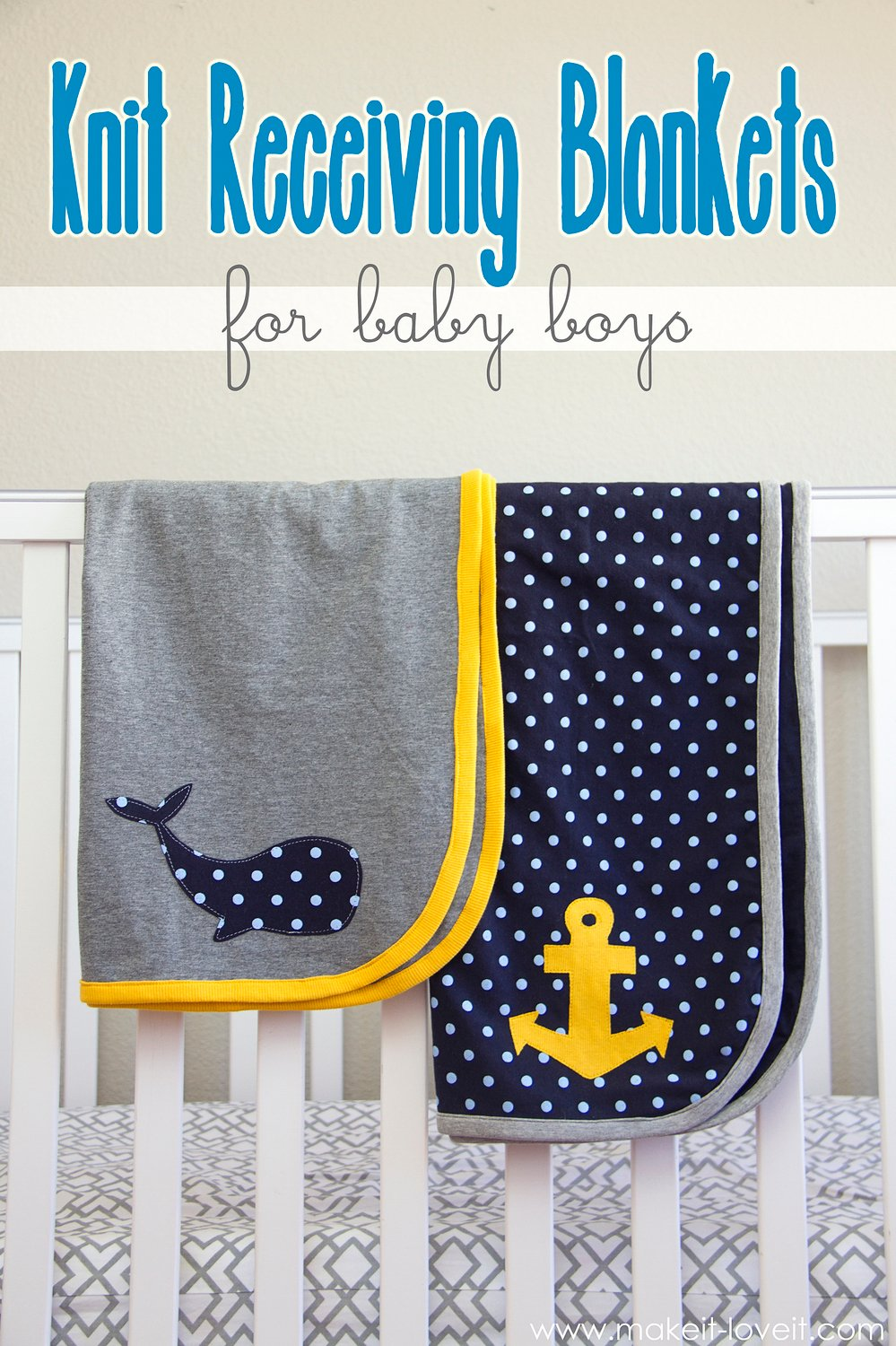 Knit receiving blankets for baby boys! (templates included…)