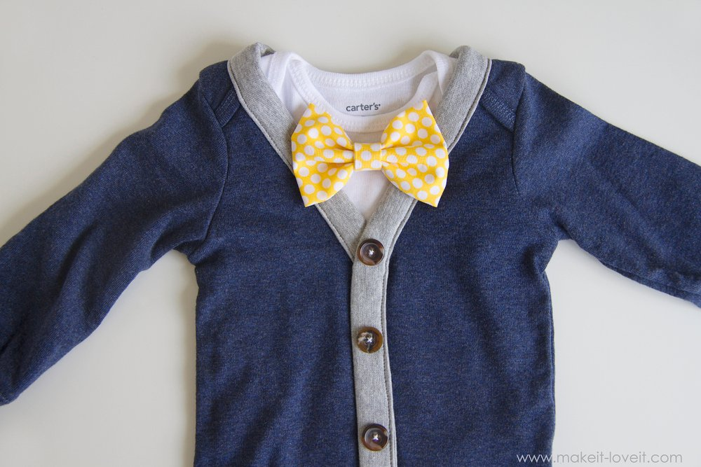 DIY Baby Boy Cardigan Onesie (with interchangeable bowties) --- Make It and Love It