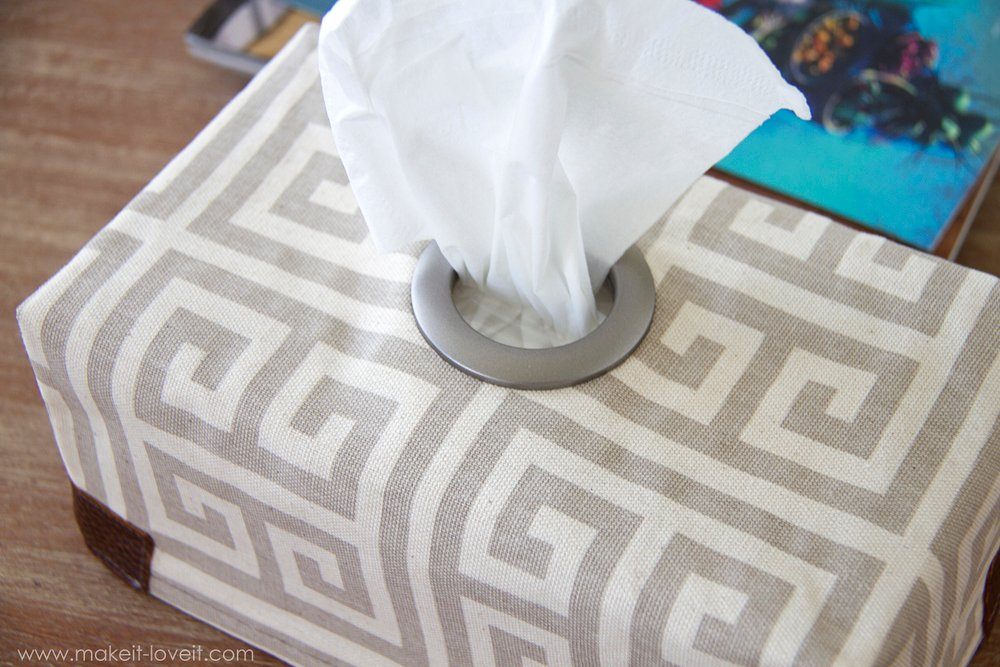 DIY Fabric Tissue Box Cover...with Grommet opening --- Make It and Love It