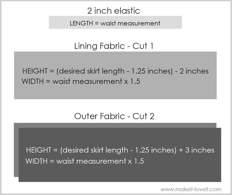 bubble skirt measurements