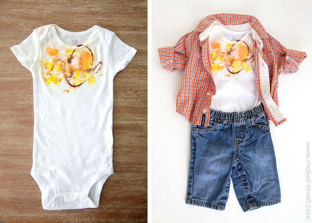 pre stained baby clothes