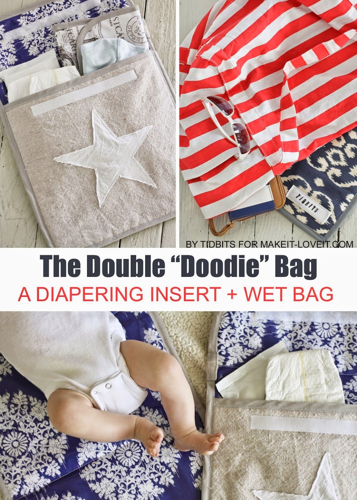 """The double """"doodie"""" bag (a wipe-able diapering """"wet"""" bag)"""