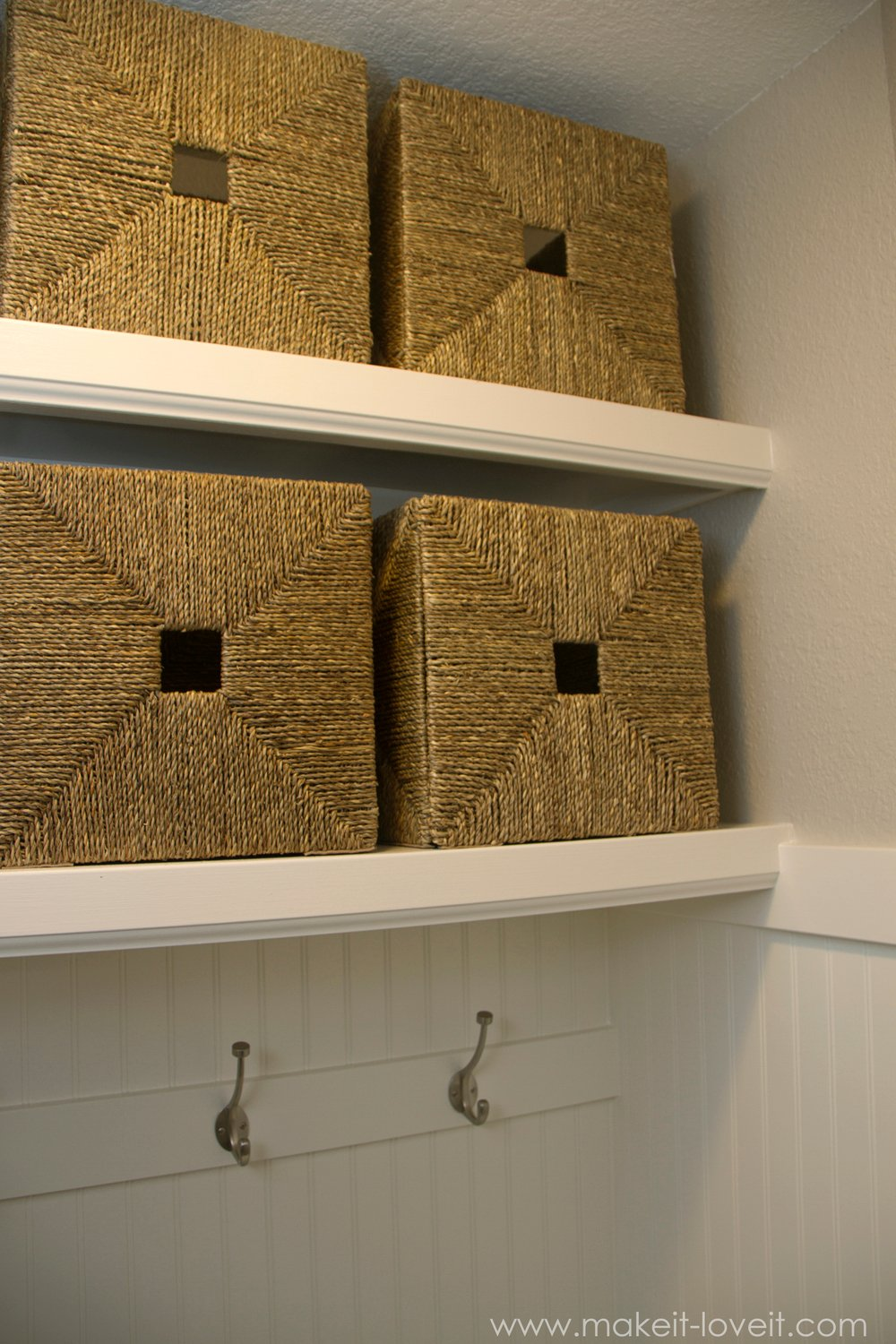 Turn A Coat Closet Into A Mudroom....with Hooks And Baskets For