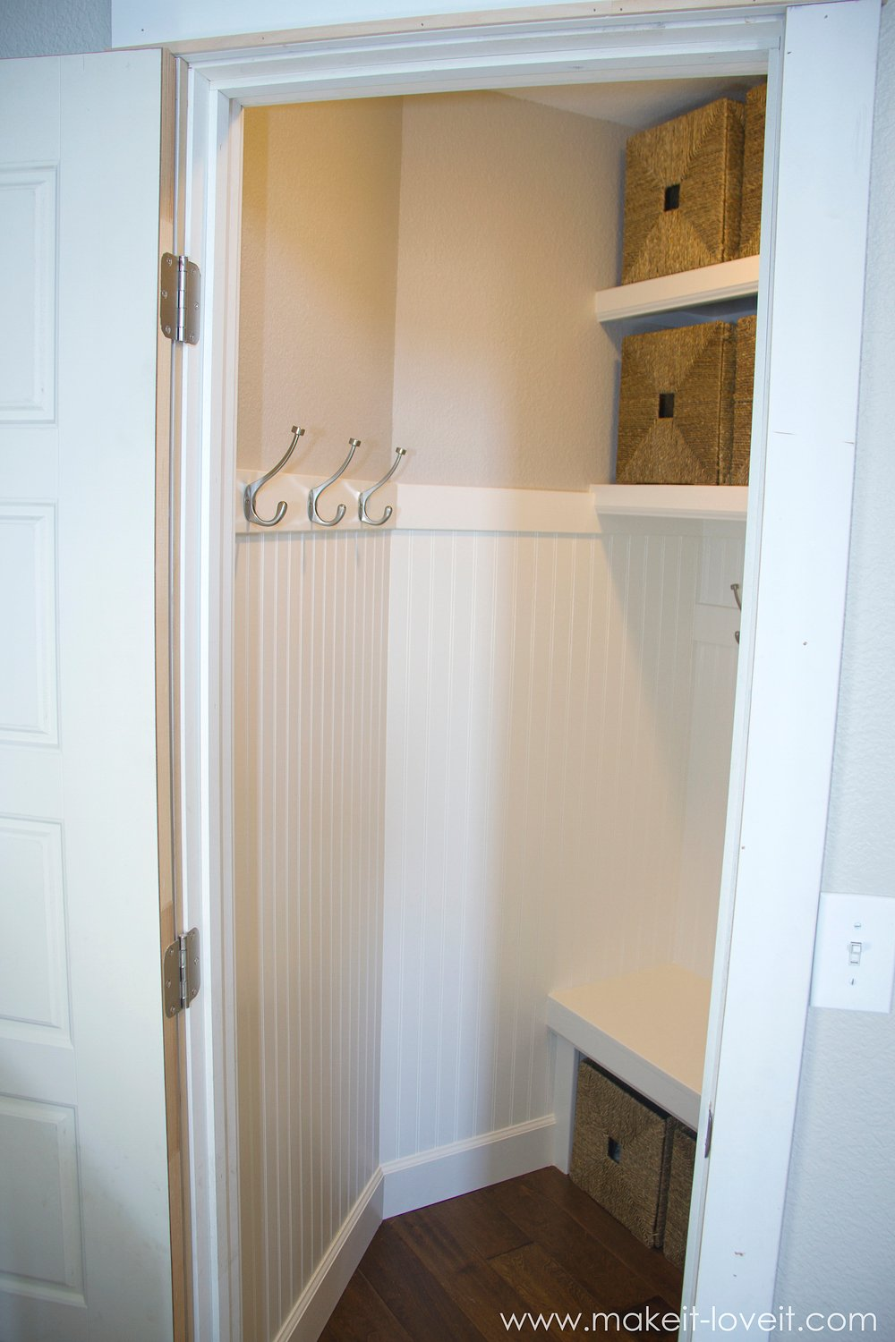 Amazing Turn A Coat Closet Into A Mudroom....with Hooks And Baskets For