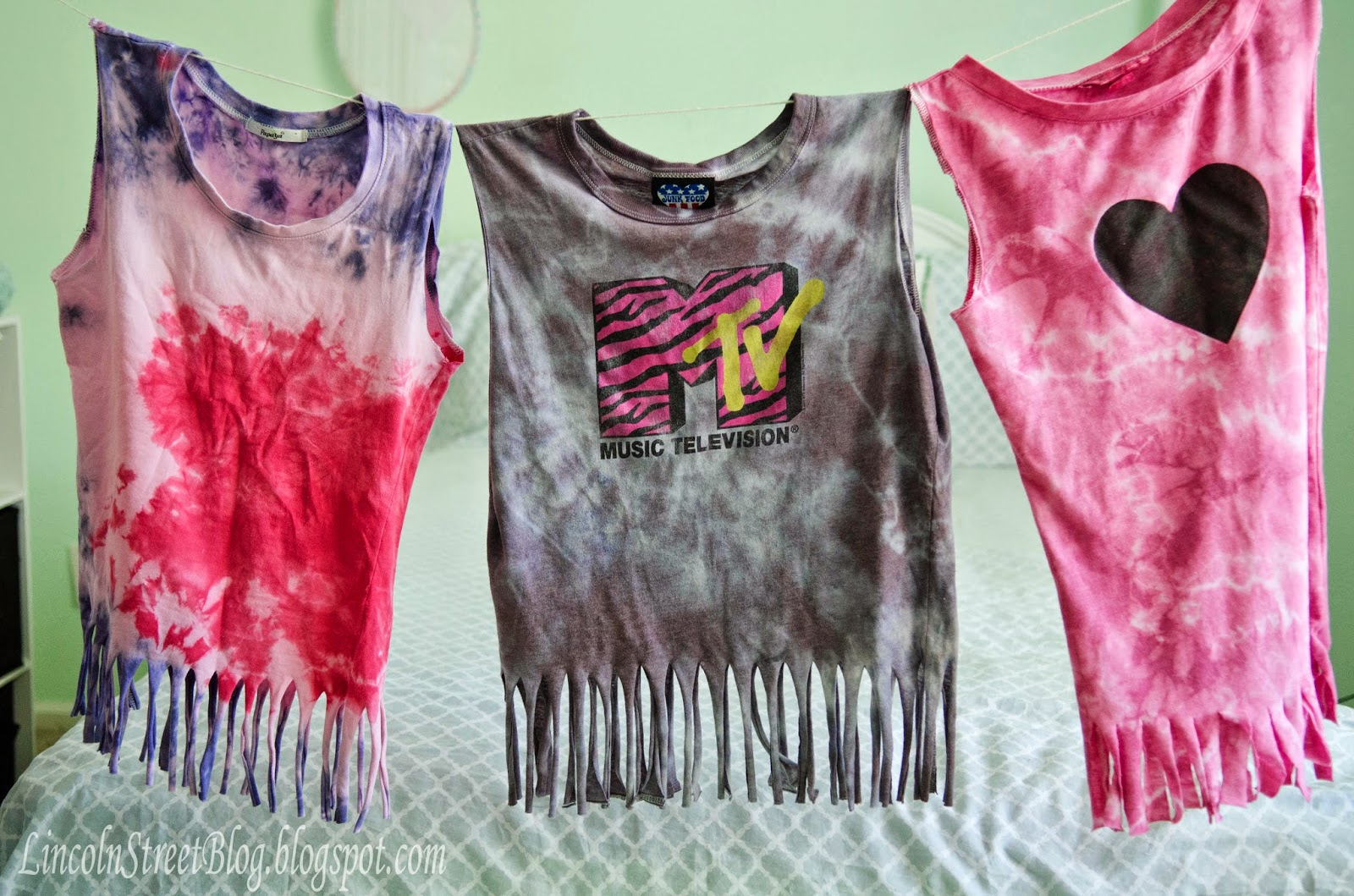 DIY Tshirts into Tie-Dyed NO-SEW Swim Cover-Ups...super cheap and really easy to make! --- Make It and Love It