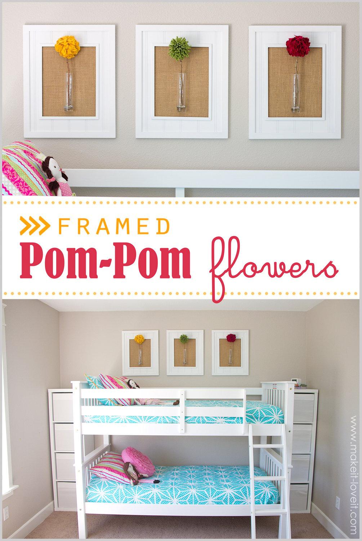 Framed Pom-Pom Flowers (wall decor)