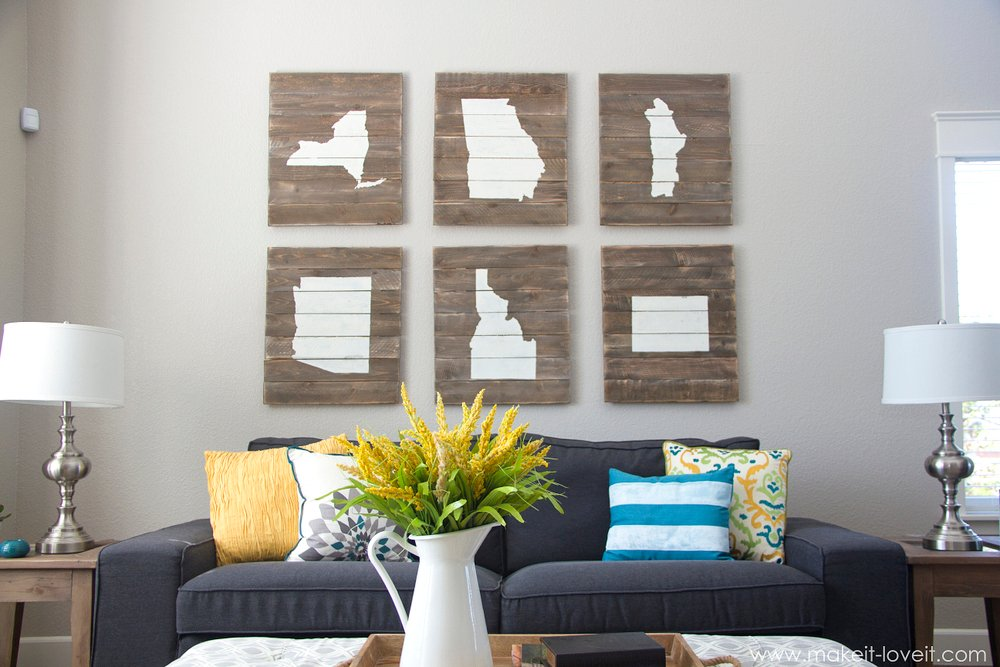 "DIY ""Home State"" Scrap-Wood Art....proudly display where you live(d). --- Make It and love It"