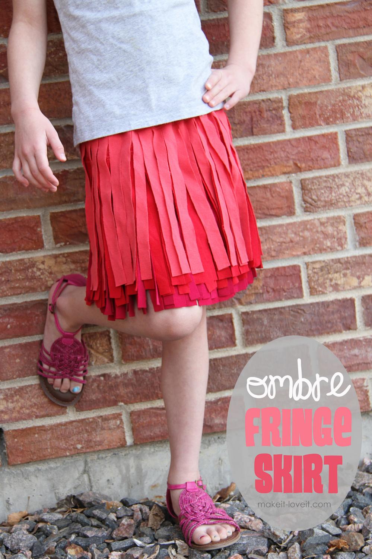 3 Ombre Fringe Skirt