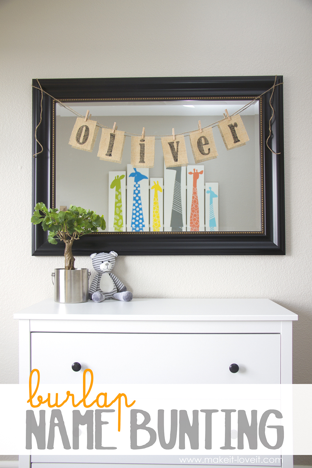 Burlap Name Bunting…..for baby Oliver's nursery
