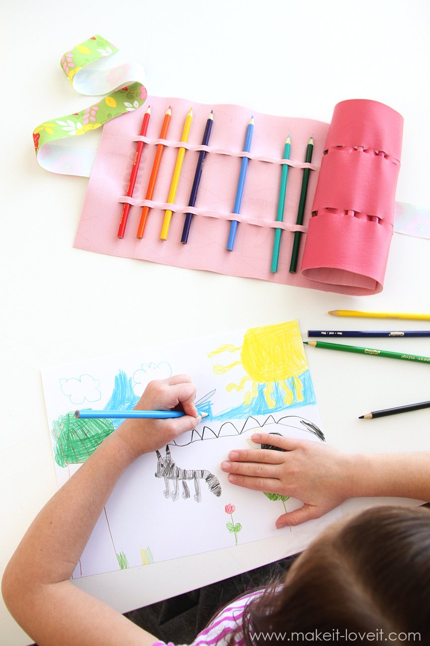No Sew Colored Pencil Roll Up Or Crayons Paintbrushes