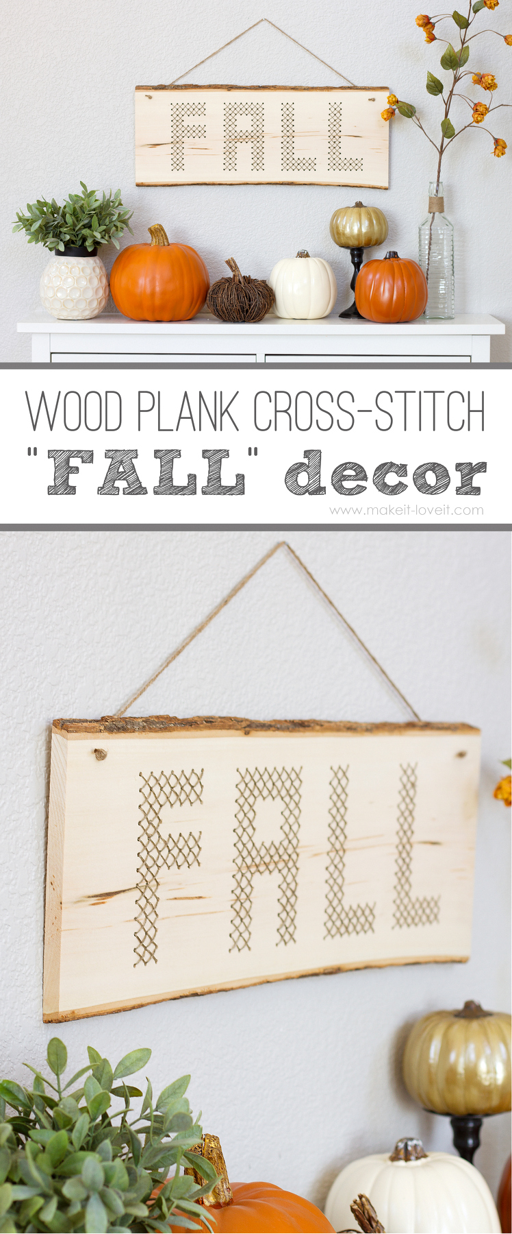 Wood Plank Cross Stitch Quot Fall Quot Decor Make It And Love It